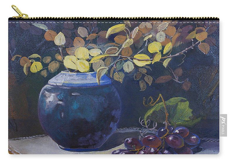 Still Life Carry-all Pouch featuring the painting The Teal Vase by Heather Coen