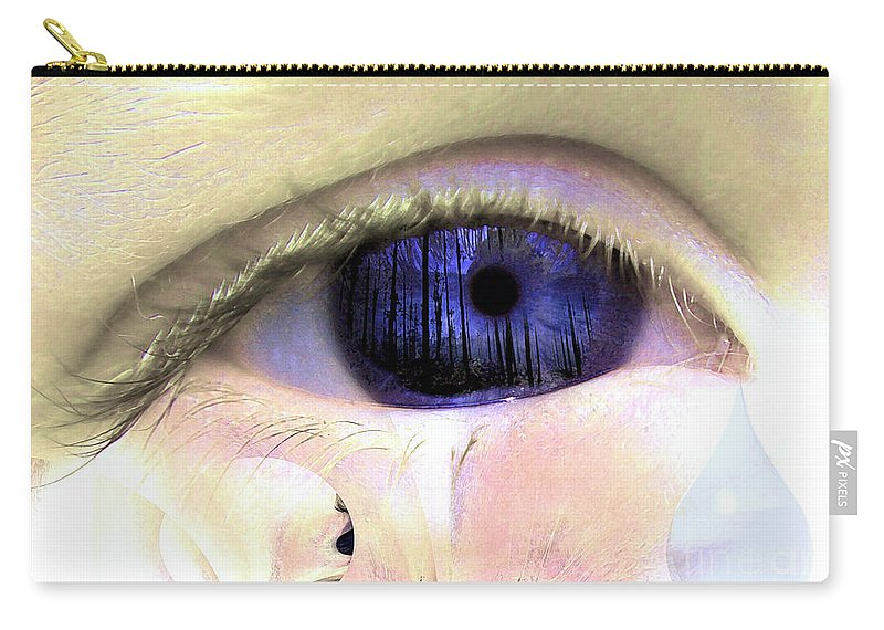 Eye Art Carry-all Pouch featuring the digital art The Tear by P Donovan
