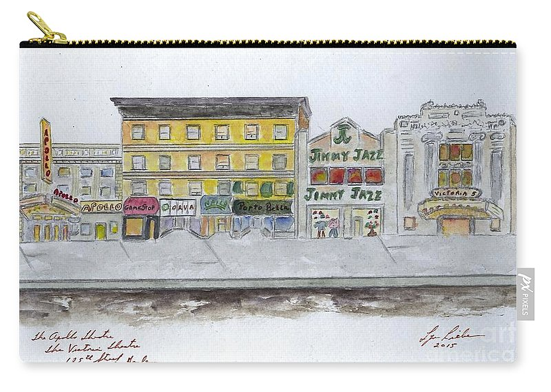 Apollo Theater Carry-all Pouch featuring the painting Theatre's Of Harlem's 125th Street by AFineLyne