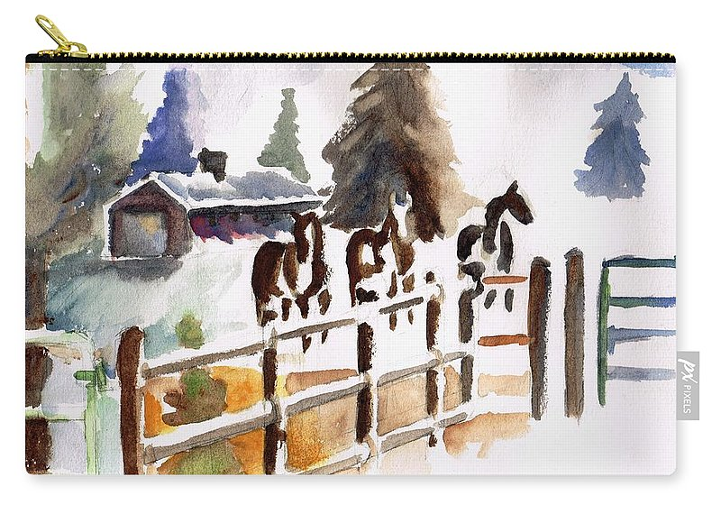 Horses Carry-all Pouch featuring the painting The Three Amigos by Frances Marino