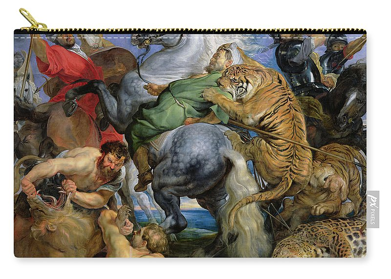 The Carry-all Pouch featuring the painting The Tiger Hunt by Rubens