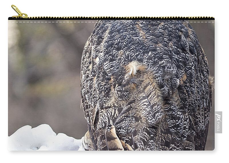 Great Horned Owl Carry-all Pouch featuring the photograph The Tiger Of The Sky by Emma England