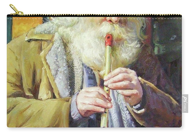 Traditional Music Carry-all Pouch featuring the painting The Tin Whistle by Conor McGuire
