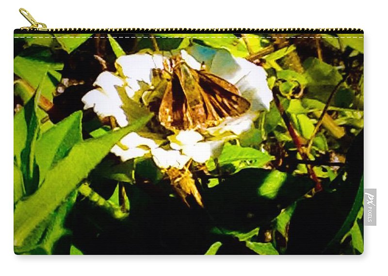 White Carry-all Pouch featuring the photograph The Tiniest Skipper Butterfly In The Garden by Debra Lynch