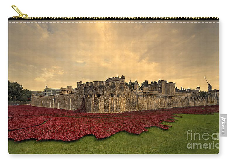 Blood Carry-all Pouch featuring the photograph The Tower Poppies by Rob Hawkins