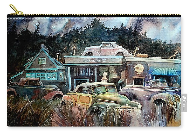 Stores Cars Trees Carry-all Pouch featuring the painting The Trading Post by Ron Morrison