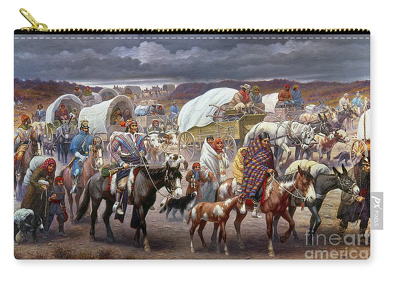 1838 Carry-all Pouch featuring the painting The Trail Of Tears by Granger
