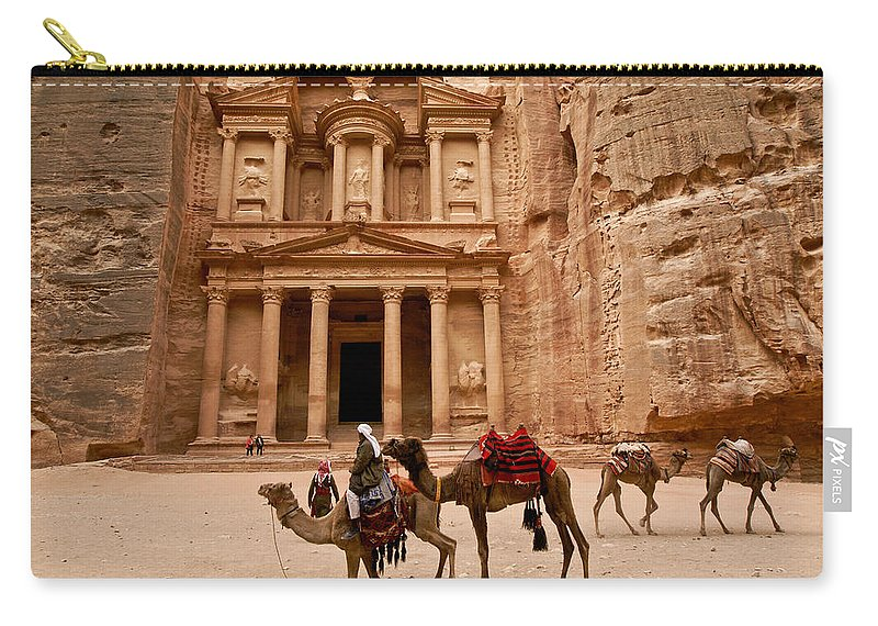 Middle East Carry-all Pouch featuring the photograph The Treasury Of Petra by Michele Burgess