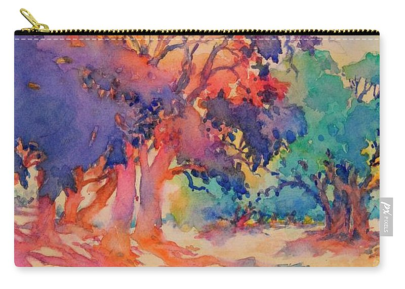 Watercolor Carry-all Pouch featuring the painting The Trees Out Back No 5 by Virgil Carter