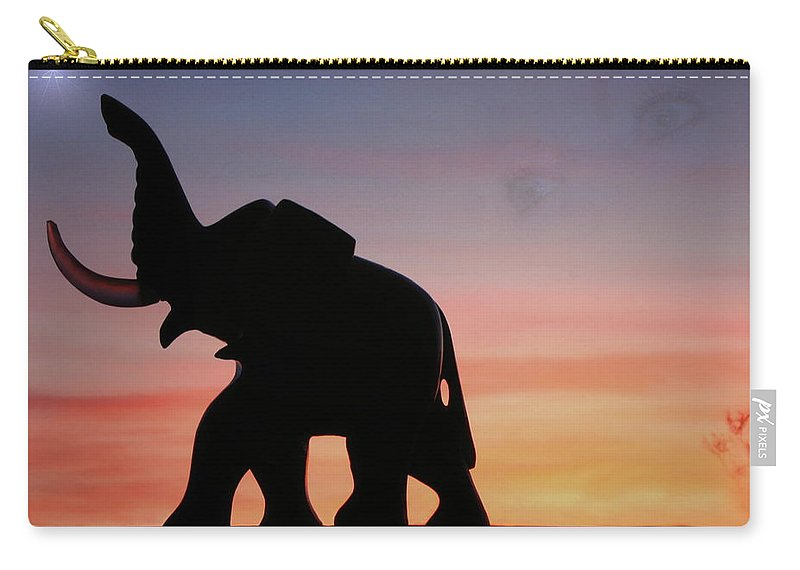 Elephant Carry-all Pouch featuring the photograph The Trek by Joyce Dickens