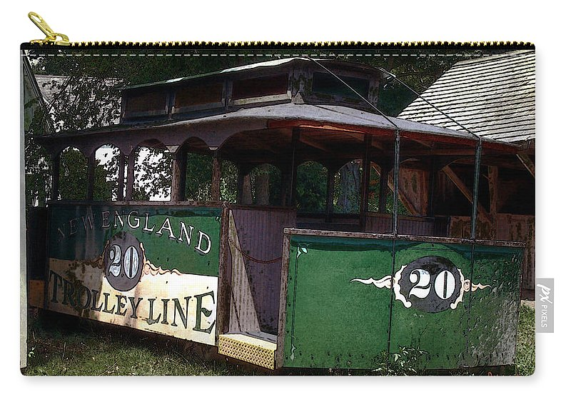 Trolley Carry-all Pouch featuring the digital art The Trolley Out Back by RC DeWinter