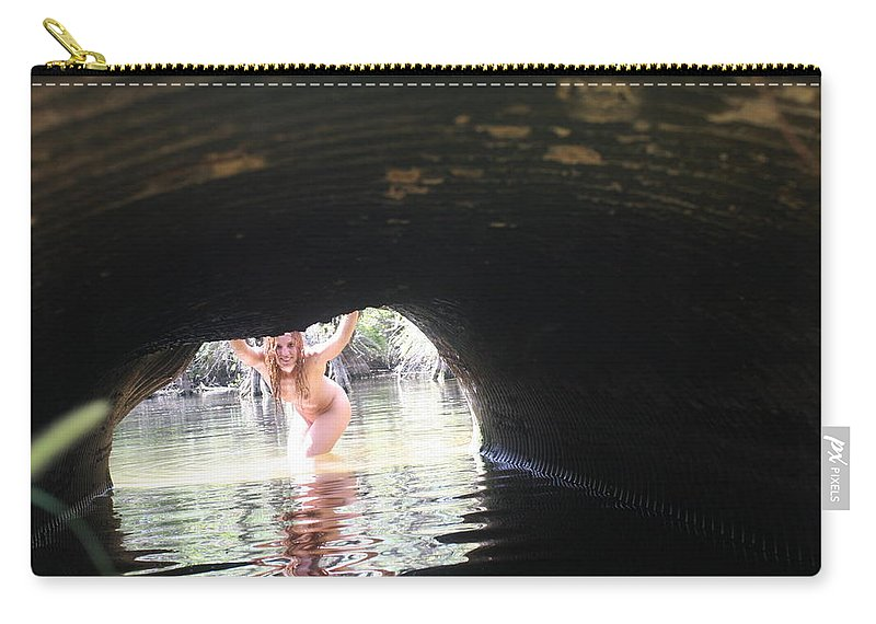 Lucky Cole Everglades Photographer Female Nude Everglades Carry-all Pouch featuring the photograph The Tunnel 8 by Lucky Cole