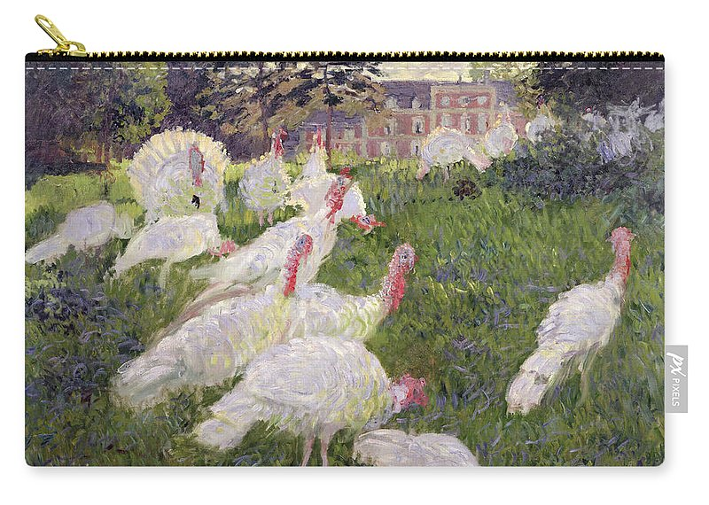 The Turkeys At The Chateau De Rottembourg Carry-all Pouch featuring the painting The Turkeys At The Chateau De Rottembourg by Claude Monet