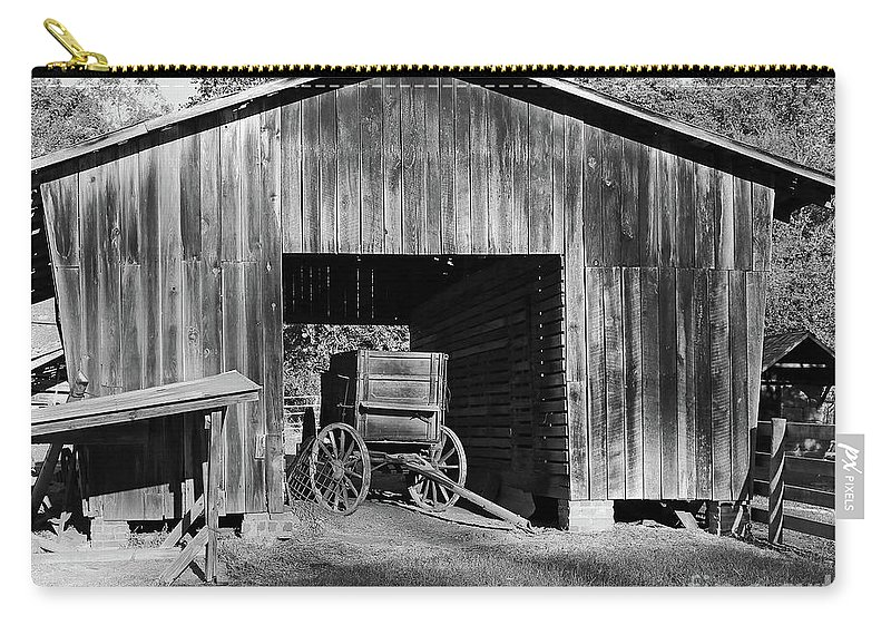 Wagon Carry-all Pouch featuring the photograph The Undertaker's Wagon Black And White by Steve Gass