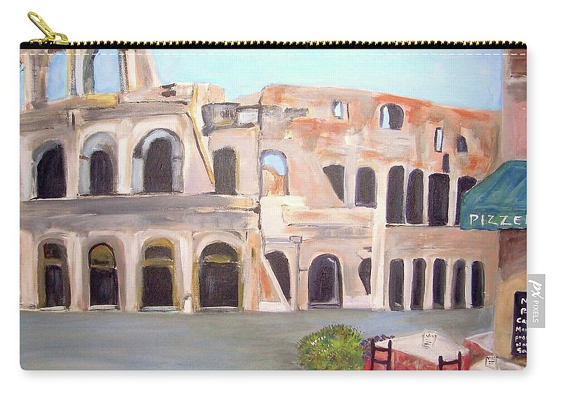 Cityscape Carry-all Pouch featuring the painting The View Of The Coliseum In Rome by Teresa Dominici