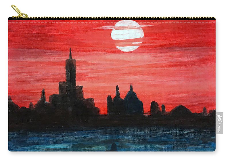 Sunset Carry-all Pouch featuring the painting The View by Wonju Hulse