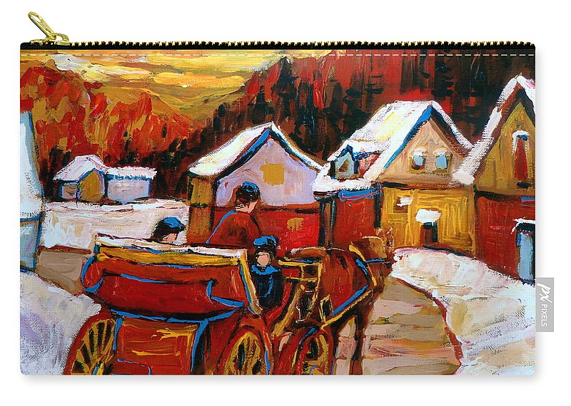 Saint Jerome Carry-all Pouch featuring the painting The Village Of Saint Jerome by Carole Spandau