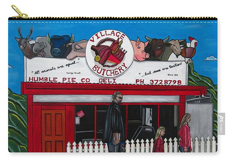 Buildings Carry-all Pouch featuring the painting The Village by Sandra Marie Adams