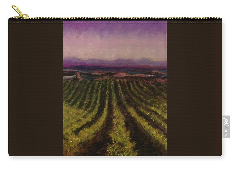 Landscape Carry-all Pouch featuring the pastel The Vineyard by Pat Snook