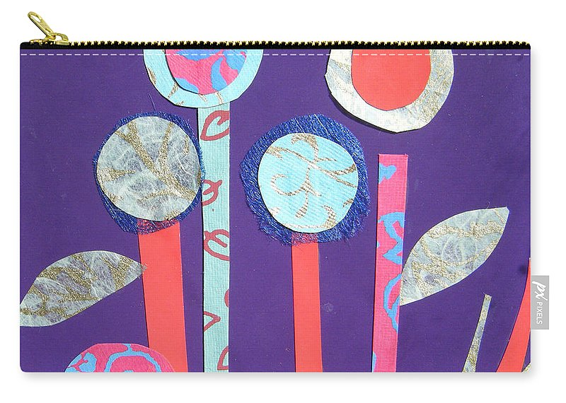 Flowers Carry-all Pouch featuring the mixed media The Violet Hour by Debra Bretton Robinson