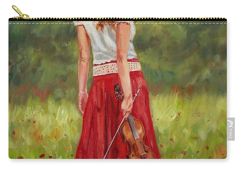 Girl Carry-all Pouch featuring the painting The Violinist by David Stribbling