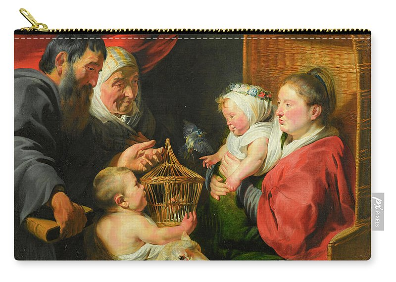 Jacob (jacques) Jordaens Carry-all Pouch featuring the painting The Virgin And Child With St. John And His Parents by Jacob Jordaens