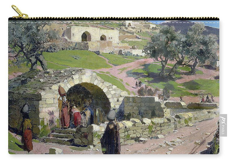 The Carry-all Pouch featuring the painting The Virgin Spring In Nazareth by Vasilij Dmitrievich Polenov