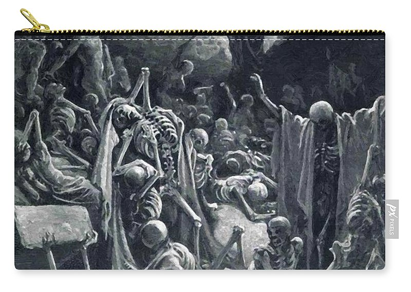 The Carry-all Pouch featuring the painting The Vision Of The Valley Of Dry Bones 1866 by Dore Gustave