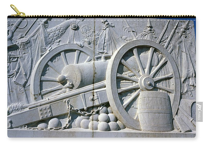 Vittorio Emanuele Monument Rome Italy Marble Carry-all Pouch featuring the photograph The Vittorio Emanuele Monument Marble Relief Of A Canon Standards Rome Italy by Michael Walters