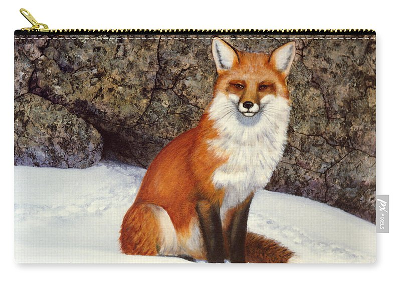 Wildlife Carry-all Pouch featuring the painting The Wait Red Fox by Frank Wilson