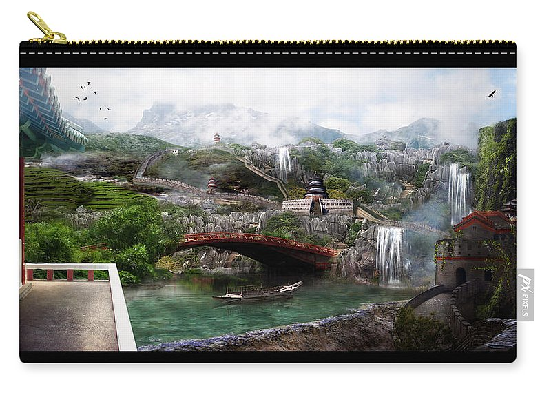 Matte Painting Carry-all Pouch featuring the digital art The Wall by Karen Koski