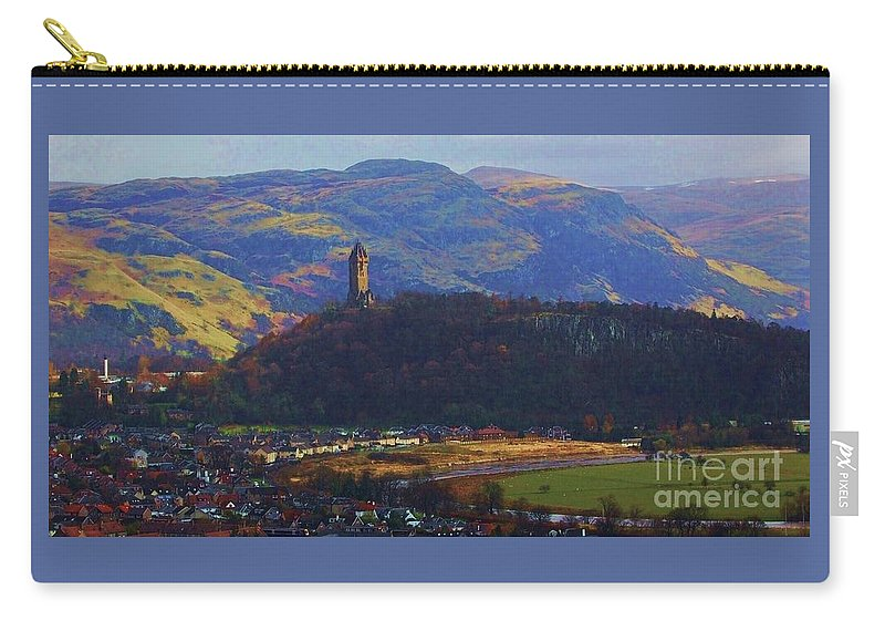 Scotland Scenery Art Historic City Stirling Wallace Tower Scottish Mountains Landscape Travel Landmark Outdoors Vista Adventure Serenity Wood Print Canvas Print Metal Frame Poster Print Available On Greeting Cards Phone Cases Mugs Poster Tote Bags Pouches Weekender Tote Bags T Shirts And Shower Curtains Carry-all Pouch featuring the photograph The Wallace Tower Stirling Scotland by Courtney Dagan