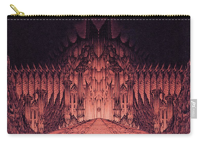 Barad Dur Carry-all Pouch featuring the drawing The Walls Of Barad Dur by Curtiss Shaffer