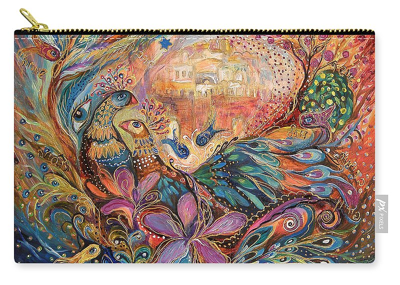 Original Carry-all Pouch featuring the painting The Walls Of Zefat by Elena Kotliarker