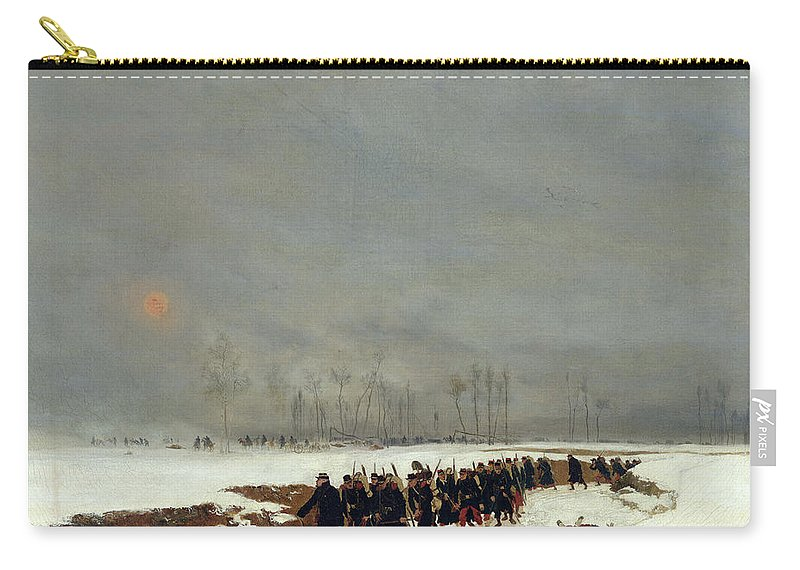 The Carry-all Pouch featuring the painting The War Of 1870 An Infantry Column On Their Way To A Raid by Jean-Baptiste Edouard Detaille
