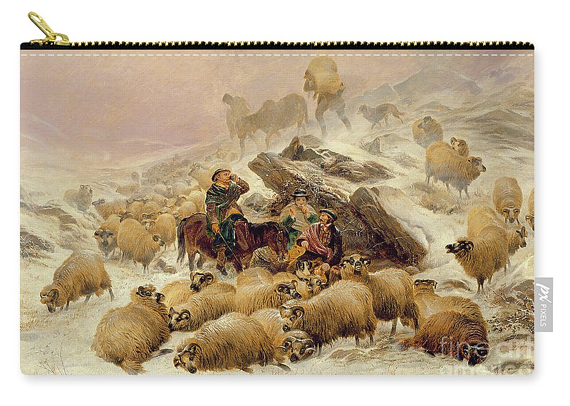 Sheep Carry-all Pouch featuring the painting The Warmth Of A Wee Dram by TS Cooper