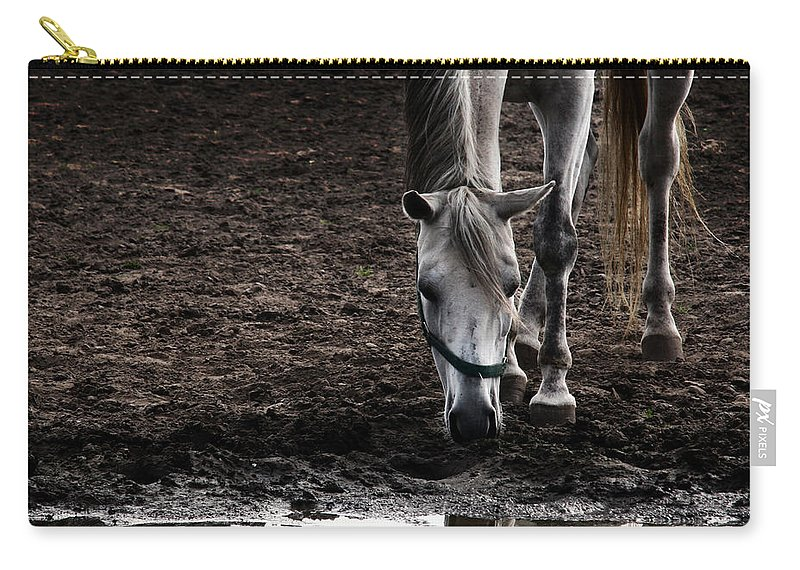 Horse Carry-all Pouch featuring the photograph The Water Reflection by Angel Ciesniarska