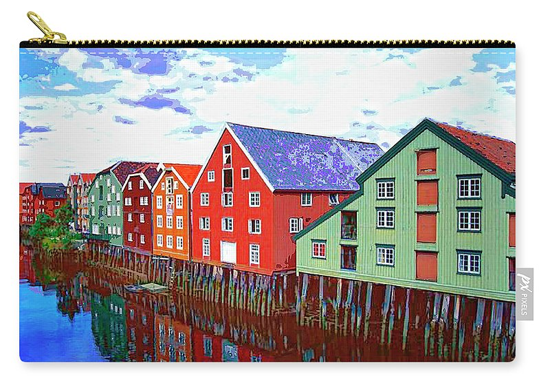 Waterfront Carry-all Pouch featuring the mixed media The Waterfront by Dominic Piperata