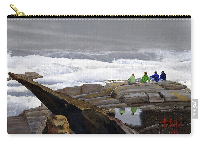 Waves Carry-all Pouch featuring the painting The Wave Watchers by Dominic White