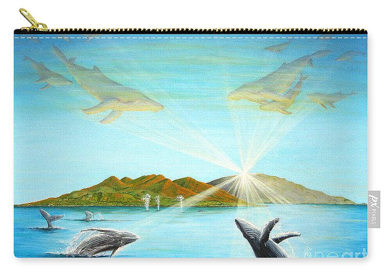 Whales Carry-all Pouch featuring the painting The Whales Of Maui by Jerome Stumphauzer
