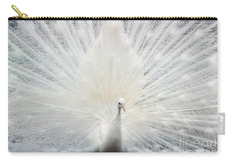 Peacocks Carry-all Pouch featuring the photograph The White Peacock by Jeffery L Bowers