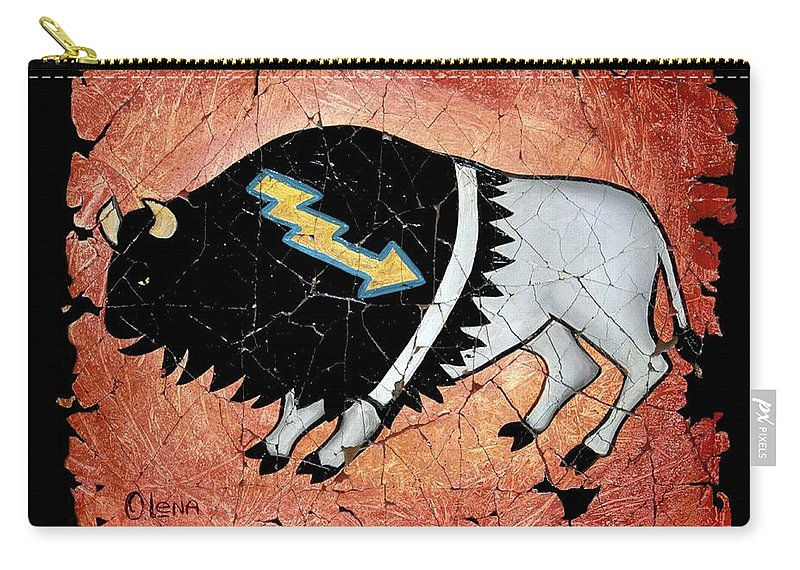 Buffalo Carry-all Pouch featuring the painting The White Sacred Buffalo Fresco by OLena Art Brand