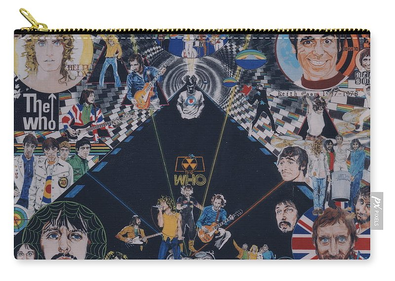 Pete Townshend;roger Daltrey;john Entwistle;keith Moon;quadrophenia;opera;story;four;music;guitars;lasers;mods;rockers;london;brighton;1964 Carry-all Pouch featuring the drawing The Who - Quadrophenia by Sean Connolly