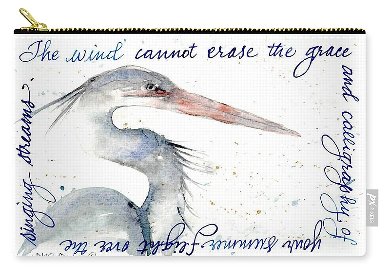 Blue Heron Carry-all Pouch featuring the painting The Wind Cannot Erase Your Flight by Diane Splinter