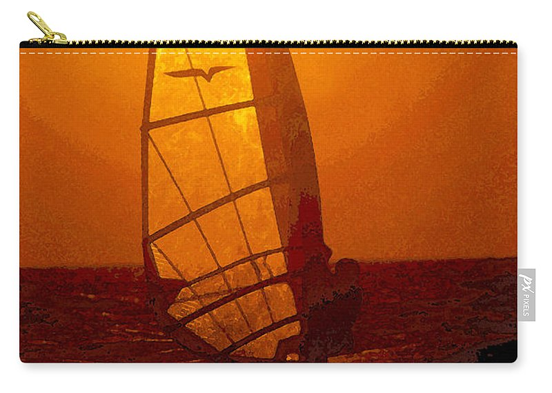 Windsurfing Carry-all Pouch featuring the painting The Windsurfer by David Lee Thompson