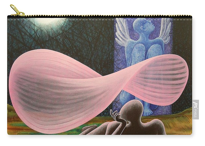 Romantic Carry-all Pouch featuring the painting The Wings by Raju Bose