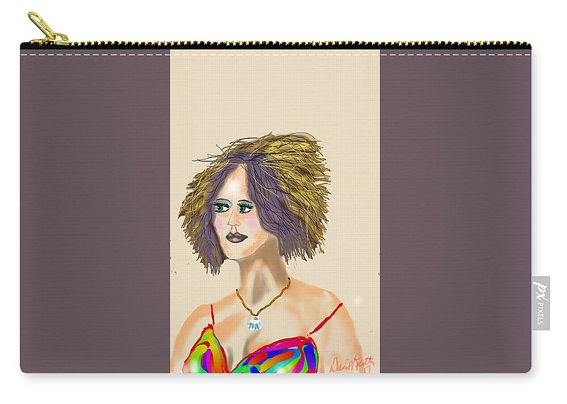 Color Big Hair Chopped Shell Necklace Spaghetti Straps Carry-all Pouch featuring the digital art The Woman With Purple Hair by David R Keith
