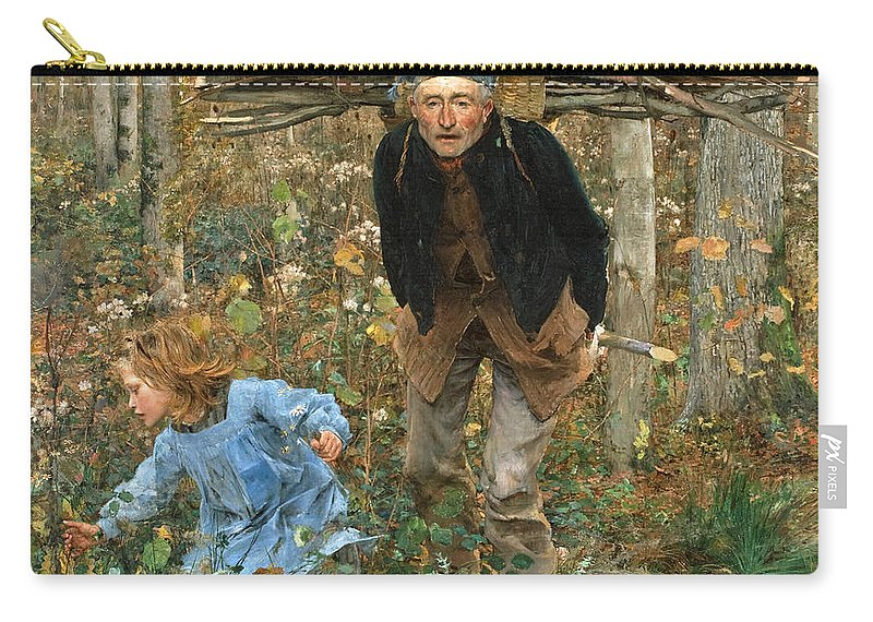 Jules Bastien-lepage Carry-all Pouch featuring the painting The Wood Gatherer by Jules Bastien-Lepage