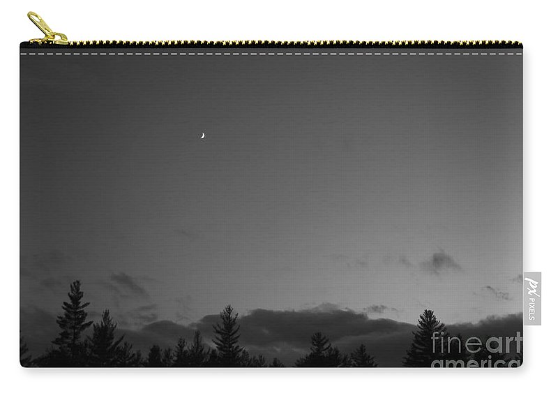 Moon Carry-all Pouch featuring the photograph The Woods And The Moon 3 Black And White by Marina McLain