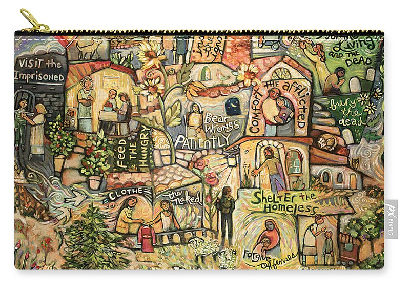 Jen Norton Carry-all Pouch featuring the painting The Works Of Mercy by Jen Norton